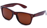 "Classic ""Blues Brothers"" Horned Rim Wayfarer in Brown with Polarized Brown Lens Sunglasses"