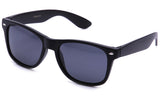 "Classic ""Blues Brothers"" Horned Rim Wayfarer in Matte Black with Polarized Smoke Lens Sunglasses"