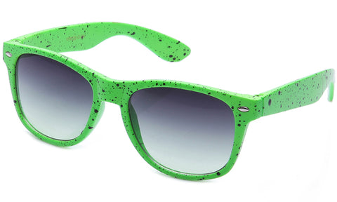 Classic Horned Rim Speckled Green Frame with UV Protected Gradient Lens Sunglasses.