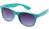 Classic Horned Rim Speckled Teal Frame with UV Protected Gradient Lens Sunglasses.