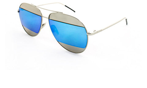 Classic Aviator Inspired Air Brushed Aluminum Silver Framed Spring Hinge Sunglasses with Double Color UV Protected Blue Flash Lens.
