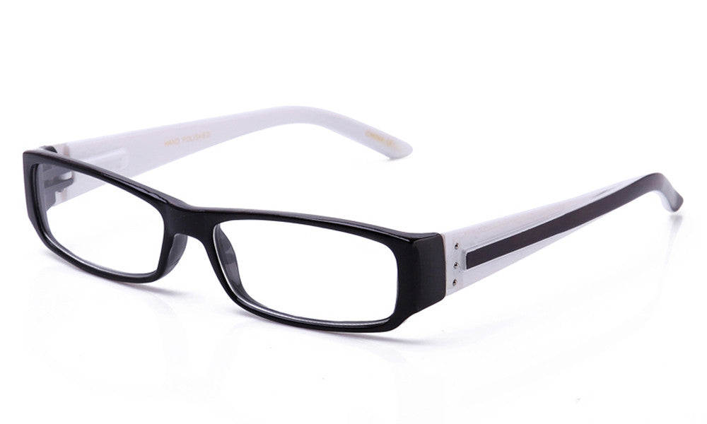 Black and white retro squared two tone reading glasses with spring hinges