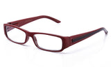 Red retro squared two tone reading glasses with spring hinges