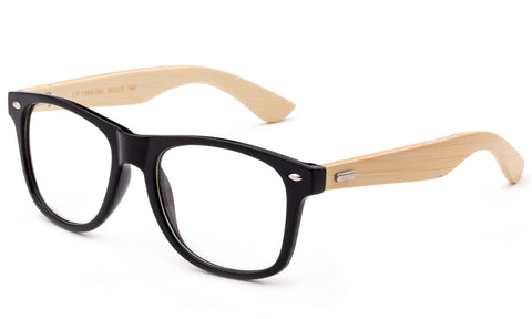 Bamboo Reading Glasses with Bamboo Arms Bamboo Temple Classic Vintage Retro Horned Rim Frame Big Frame Reading Glasses
