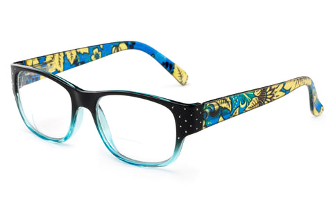 """Mosaic"" Bifocal Squared Frames Bottom Half Readers"