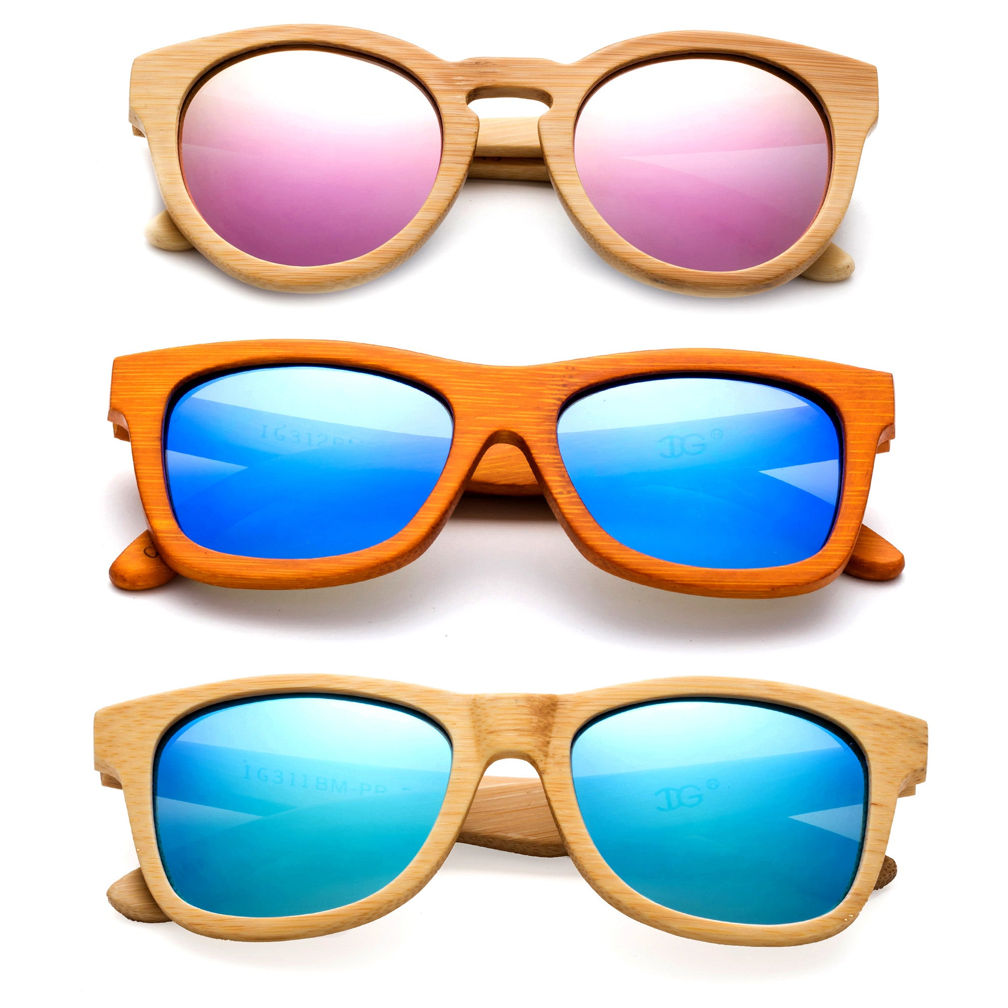 Cateye Bamboo Frames with polarized lenses for uv protection