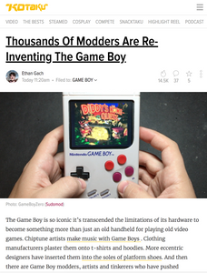 "Interview for Kotaku's ""Thousands Of Modders Are Re-Inventing The Game Boy"""