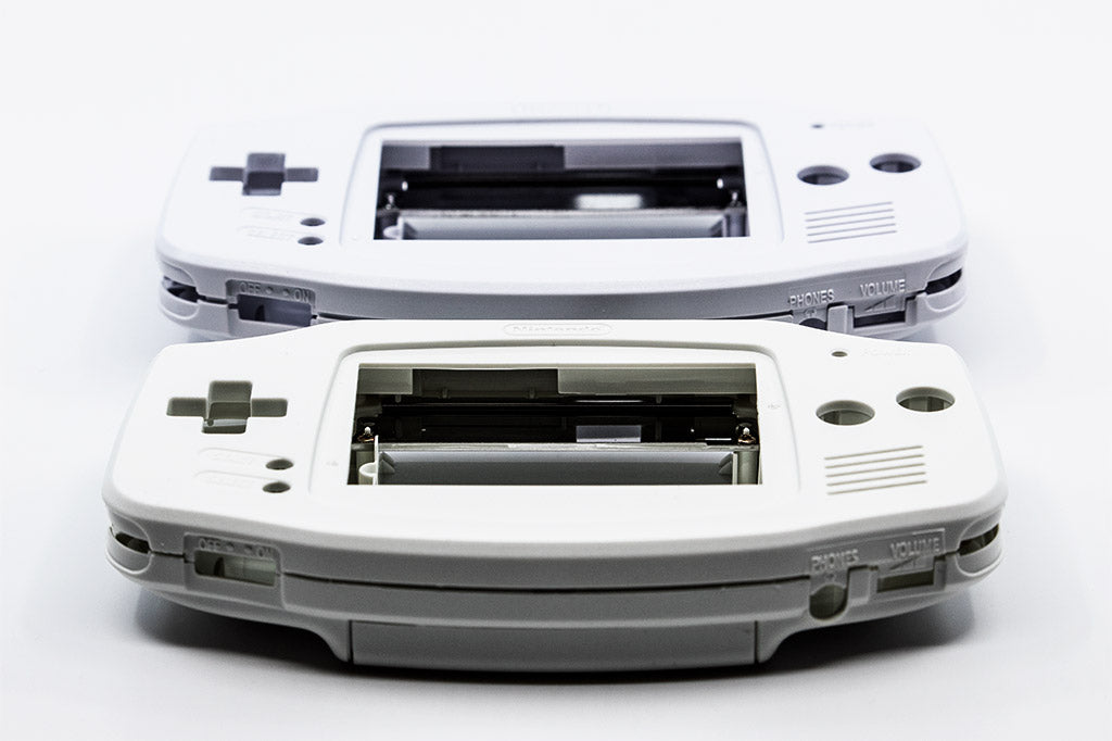 Arctic White and Pure White Game Boy Advance Shell Color Comparison