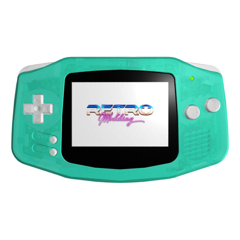 IPS LCD Modded GBA - GITD Turquoise Shell, Clear Buttons, Black Lens