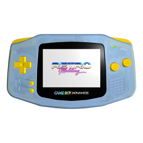 IPS LCD Modded GBA - GITD Blue Shell, Yellow Buttons, Holographic Lens