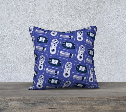 Nintendo Consoles, Megaman Pattern Pillow (Blue)