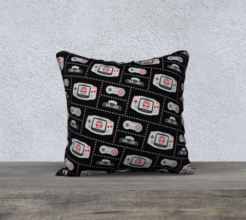 Nintendo Consoles, Mushroom Pattern Pillow (Red/Black)