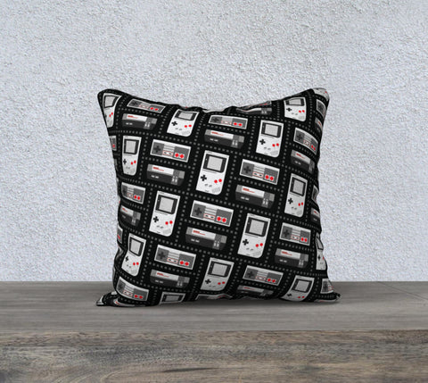 Nintendo Consoles Pattern Pillow (Red/Black)