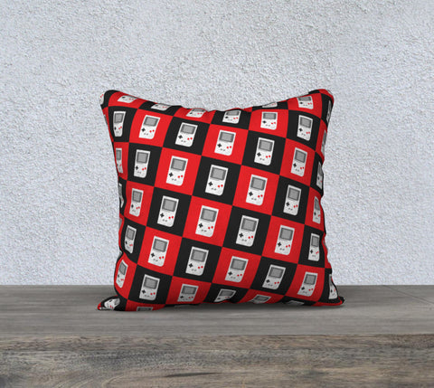 Gameboy Checkerboard Pattern Pillow (Red/Black)