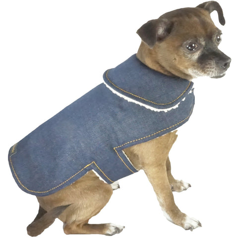 Bella Poochy Jean Dog Coat With Sherpa Lining - Lavish Pets