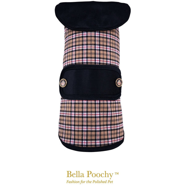 Bella Poochy Designer Print Coat With Corduroy Lining And 24K Gold Buttons