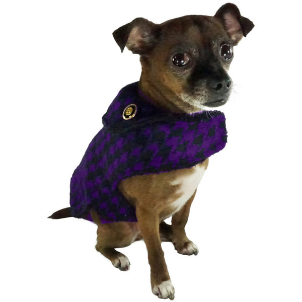 Bella Poochy Sherpa Lined Coat - Houndstooth Dog Coat With 24K Gold Buttons - Lavish Pets