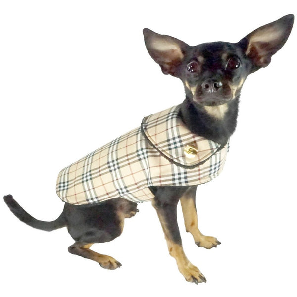 Bella Poochy Sherpa Lined Coat - Designer Plaid Dog Coat With 24K Gold Buttons
