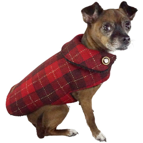 Bella Poochy Sherpa Lined Coat - Limited Edition Holiday Plaid Dog Coat With 24K Gold Buttons