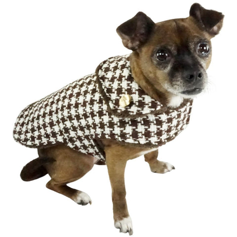 Houndstooth Dog Coat With 24K Gold Buttons