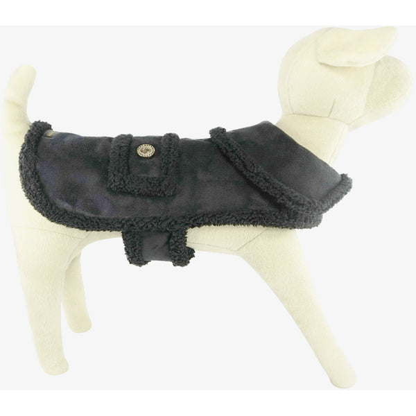 Bella Poochy Faux Suede Backed Sherpa Dog Coat With 24K Gold Buttons - Lavish Pets