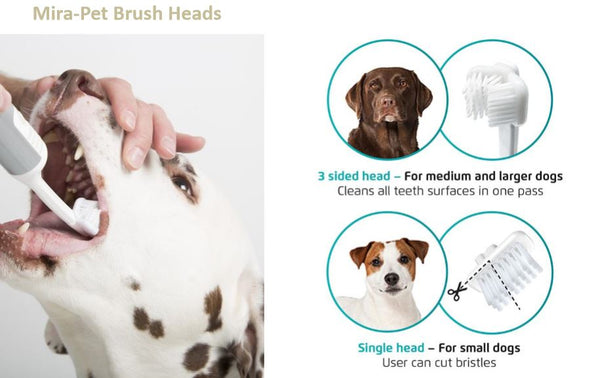 Mira-Pet Single Sided Brush Heads (Two Replacement Brushes) - Lavish Pets
