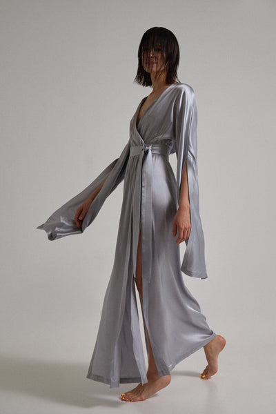 Column&Costume - Silk Wrap Dress Light Grey