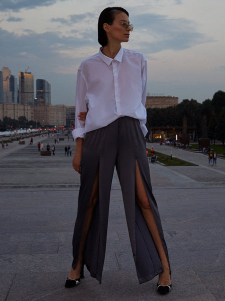 Column&Costume - Silk Trousers Graphite
