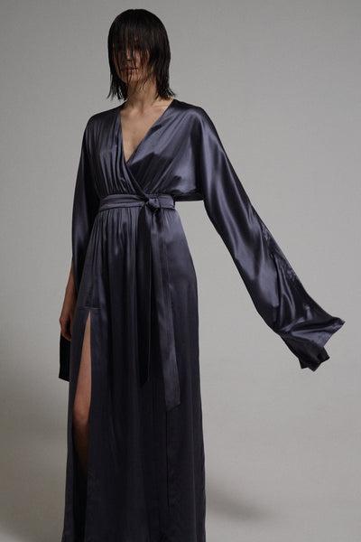 Column&Costume - Silk Wrap Dress Graphite