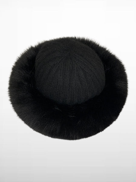 HPI OF Sweden - Celine Cashmere Hat With Fox - Black