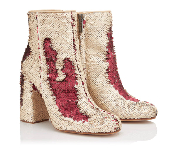 Ganor Dominic - Beige and Red Sequin Boots - 39.5