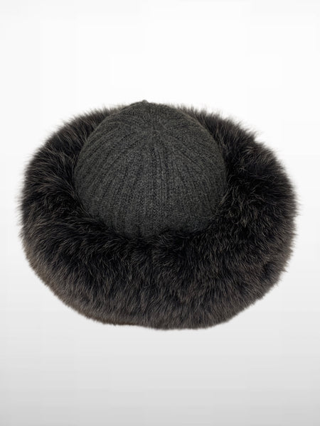 HPI OF Sweden - Celine Cashmere Hat With Fox - Grey