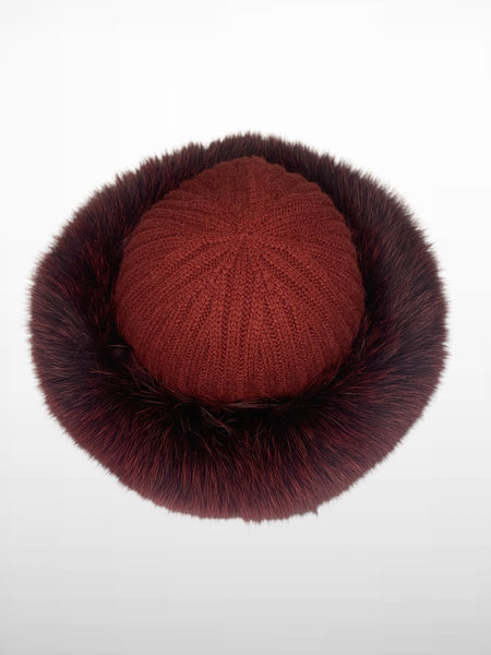 HPI OF Sweden - Celine Cashmere Hat With Fox - Burgundy