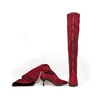 Marsala Knee High Boots - Red Lurex
