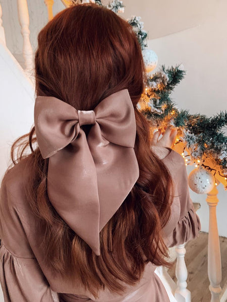 Vipers Sisters Hair Bow Clip In Beige