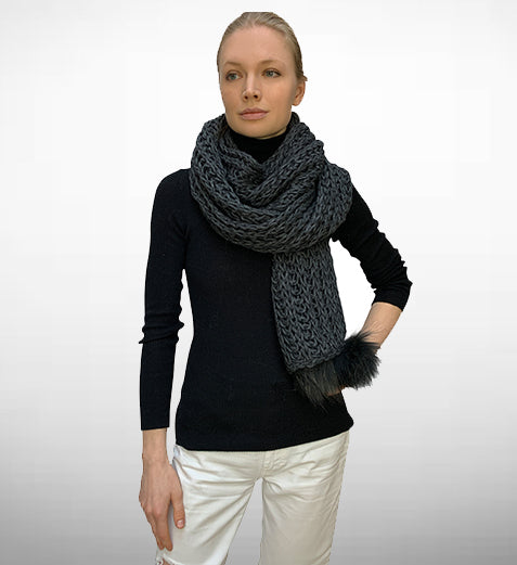 HPI OF Sweden - Scarf Grey - With Fox Pompon