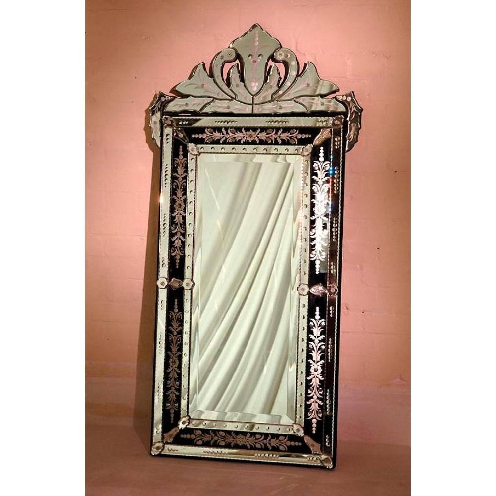 Black Vintage Venetian Rectangular Etched Glass Mirror With Crown The Luxury Mirror Company