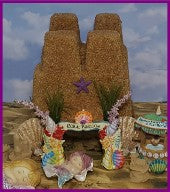 Mermaid Sand Castle Fairy Garden made from recycled boxes