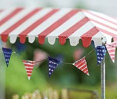 Fairy Garden  Mini Red White Blue Pennant - Fairy Garden Fun
