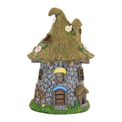 Fairy Garden  Solar Lighted Stone Cottage Straw with Flowers Roof 092 - Fairy Garden Fun