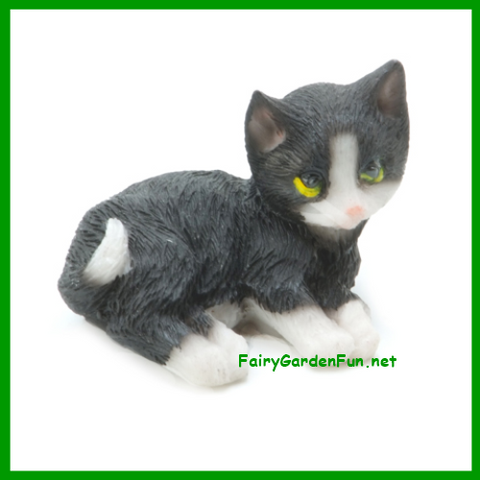 Fairy Garden  Large Black and White Cat / Kitten - Fairy Garden Fun