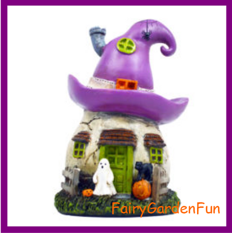 Fairy Garden  Halloween House Witch Hat With Witch On Broomstick DB - Fairy Garden Fun