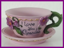 Purple Tea Cup Planter I Love You Grandma