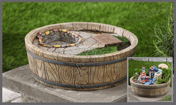 "Fairy Garden  Cobblestone and Barrel Base Planter 13"" - Fairy Garden Fun"