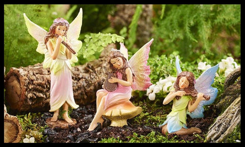 Fairy Garden  Classic Music Fairies Set of 3 ~ Flute, Harp, Violin   262 - Fairy Garden Fun