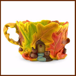 Fairy Garden  Oak Leaf Tea Cup Planter - Fairy Garden Fun