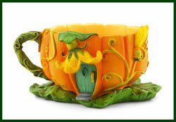 Fairy Garden  Pumpkin Blossom Tea Cup Planter - Fairy Garden Fun