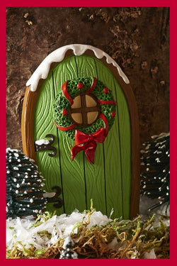 Fairy Garden  Christmas Fairy Door With Wreath ~ Green 016 - Fairy Garden Fun