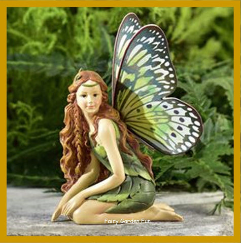 Fairy Garden  Butterfly Winged Fairy  Green & Yellow Wings - Fairy Garden Fun