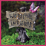 "Fairy Garden Miniature  We Believe in Fairies Butterfly Garden Sign 2 5/8"" - Fairy Garden Fun"